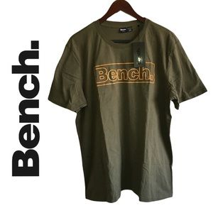 Bench Army Green Short Sleeve T Shirt With Orange Logo Size XL NEW